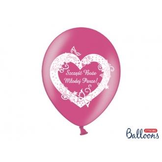 Balony 30cm Szczęść..., Metallic Hot Pink, 50szt.