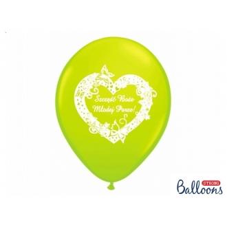 Balony 30cm Szczęść Boże..., M. Lime Green, 50szt.