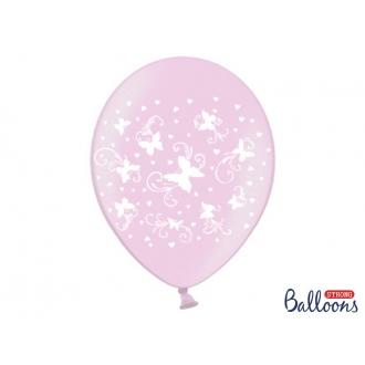 Balony 30cm, Motylki, Metallic Candy Pink, 6szt.