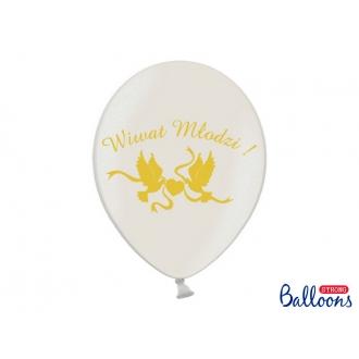 Balony 30cm, Wiwat Młodzi!, Metallic White, 50szt.