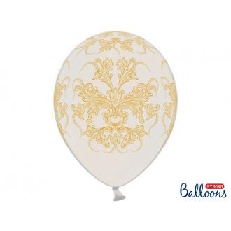 Balony 30cm, Ornament, Metallic Pure White, 6szt.