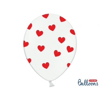 Balony 30cm, Serduszka, Pastel Pure White, 50szt.