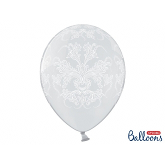 Balony 35cm, Ornament, Crystal Clear, 6szt.