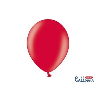 Balony Strong 30cm, Metallic Poppy Red, 100szt.