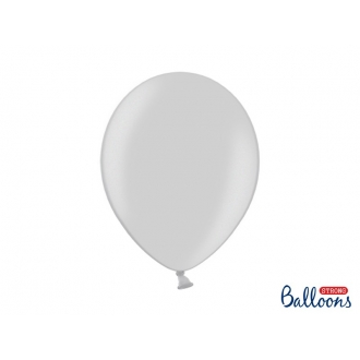Balony Strong 30cm, Metallic Silver Snow, 50szt.
