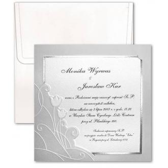 Zaproszenia Ślubne w Kolorze Cappucino z Tłoczonym Kwiatowym Motywem F2255