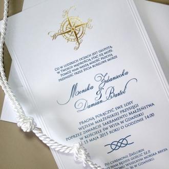 Zaproszenia Ślubne w Stylu Marynarskim z Różą Wiatrów F1223