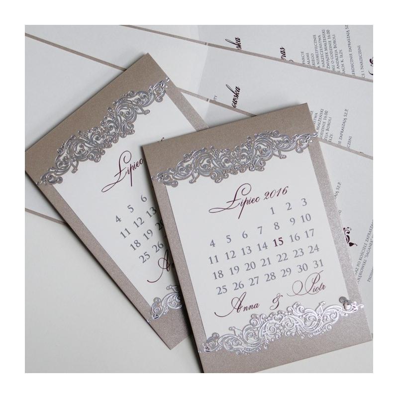 Zaproszenia ślubne W Formie Kartki Z Kalendarza F1237p