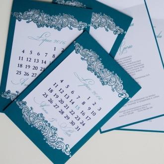 Turkusowe Zaproszenia Ślubne w Formie Kartki z Kalendarza F1237t