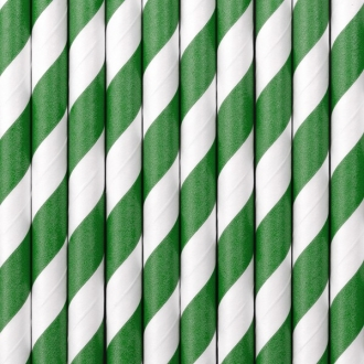 Słomki papierowe, zielony, 19,5cm, 1op.