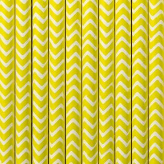 Słomki papierowe, żółty, 19,5cm, 1op.