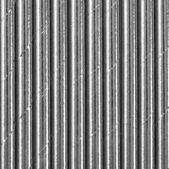 Słomki papierowe, srebrny, 19,5cm, 1op.