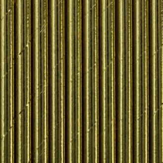 Słomki papierowe, złoty, 19,5cm, 1op.