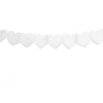 Girlanda bibułowa Serca, biały, 3m, 1szt.