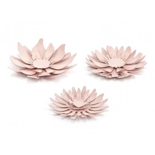 Dekoracje papierowe Kwiaty, pudrowy róż, 1op.