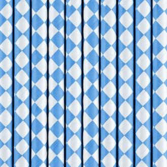Słomki papierowe, niebieski, 19,5cm, 1op.
