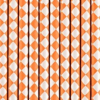 Słomki papierowe, j. pomarańcz, 19,5cm, 1op.