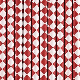 Słomki papierowe, czerwony, 19,5cm, 1op.