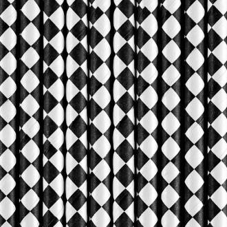 Słomki papierowe, czarny, 19,5cm, 1op.
