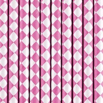Słomki papierowe, różowy, 19,5cm, 1op.