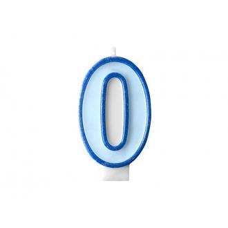 Świeczka urodzinowa Cyferka 0, niebieski, 1szt.