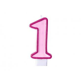 Świeczka urodzinowa Cyferka 1, różowy, 1szt.