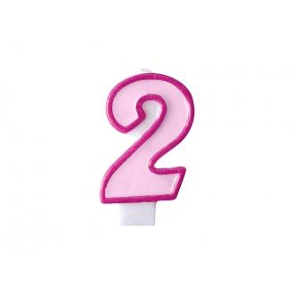Świeczka urodzinowa Cyferka 2, różowy, 1szt.