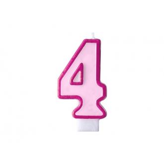 Świeczka urodzinowa Cyferka 4, różowy, 1szt.