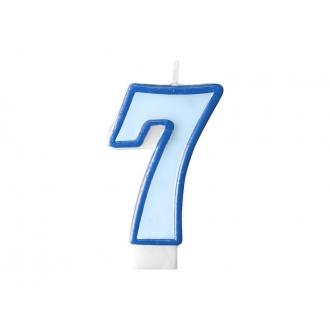 Świeczka urodzinowa Cyferka 7, niebieski, 1szt.