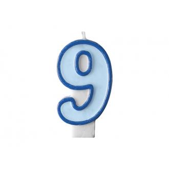Świeczka urodzinowa Cyferka 9, niebieski, 1szt.
