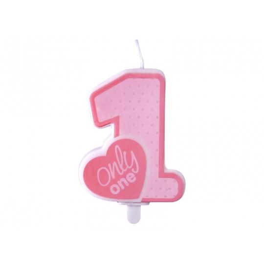 Świeczka urodzinowa Only One, j. różowy, 1szt.