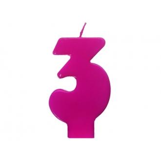 Świeczka urodzinowa Cyferka 3, różowy, 1szt.