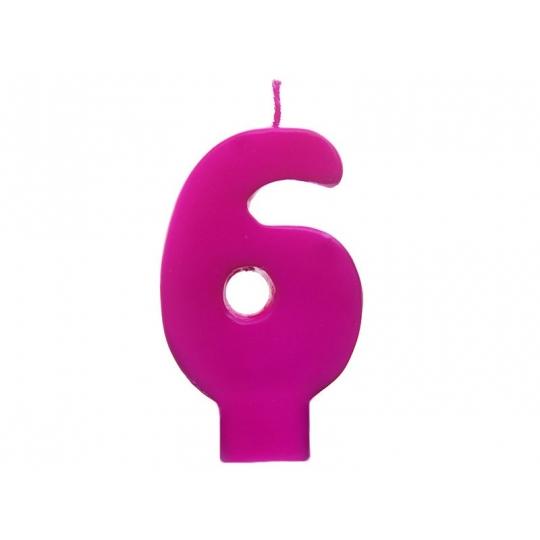 Świeczka urodzinowa Cyferka 6, różowy, 1szt.