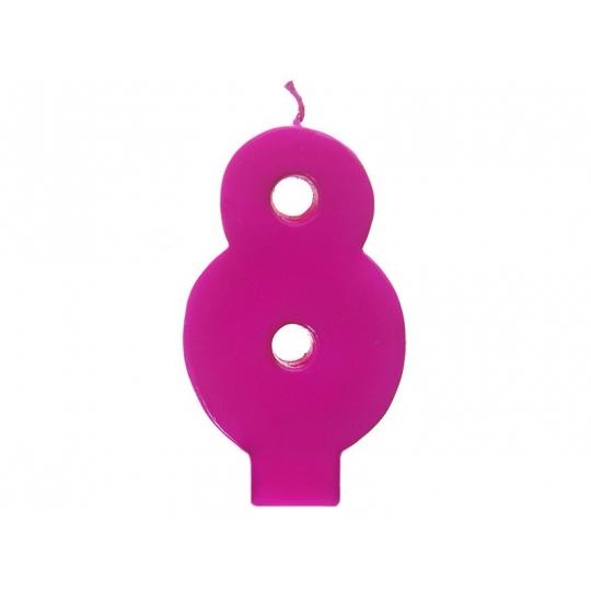 Świeczka urodzinowa Cyferka 8, różowy, 1szt.