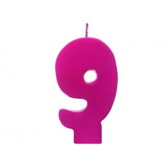 Świeczka urodzinowa Cyferka 9, różowy, 1szt.