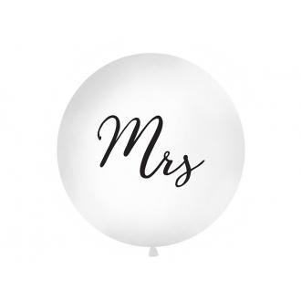 Balon 1 m, Mrs, nadruk, biały, 1szt.