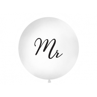 Balon 1 m, Mr, nadruk, biały, 1szt.
