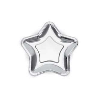 Talerzyki Gwiazdka, srebrny, 18cm, 1op.