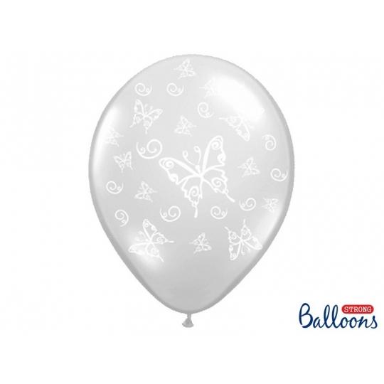 Balony 35cm, Motylki, Crystal Clear, 50szt.