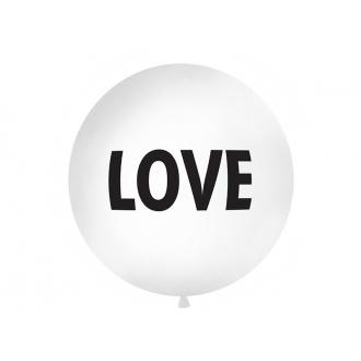 Balon 1 m, Love, nadruk, biały, 1szt.