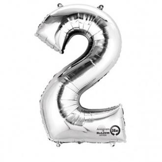 Balon foliowy 50 x 88 cm Cyfra 2, srebrny, 1szt.