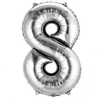 Balon foliowy 53 x 83 cm Cyfra 8, srebrny, 1szt.
