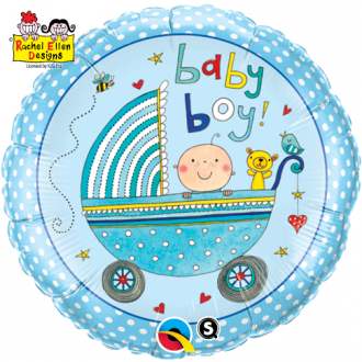 "Balon foliowy 18"" QL CIR ""Baby Boy (niebieski, wózek)"" ST ASORT"