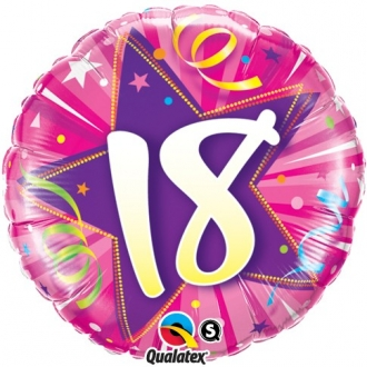 """Balon foliowy 18"""" QL CIR """"18, różowy"""" ST ASORT"""