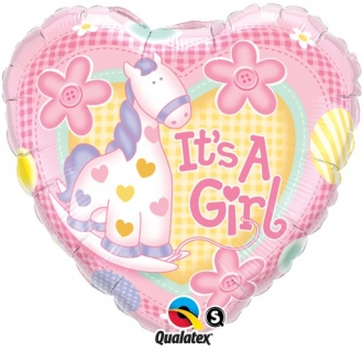 "Balon foliowy 18"" QL HRT ""It is a Girl"" ST ASORT"