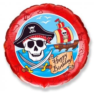 """Balon foliowy 18"""" FX - """"Pirackie Happy Birthday"""" (okrągły)"""