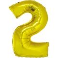 """Balon foliowy """"Cyfra 2"""", złota, 85 cm"""