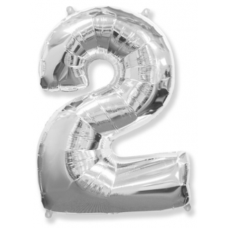 "Balon foliowy FX - ""Number 2"" srebrny 85 cm"