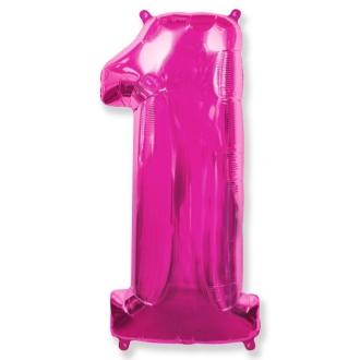 """Balon foliowy FX - """"Number 1"""" różowy 85 cm"""