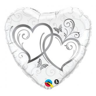 "Balon foliowy 18"" QL HRT ""Splecione Serca"" (srebrne) ST ASORT"